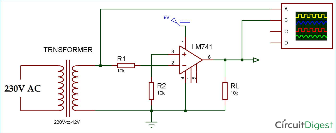 Zero Crossing Detector Circuit Diagram using Op-Amp