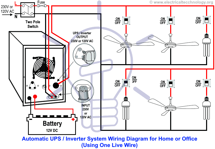 Automatic UPS Inverter System Wiring Diagram (One Live Wire)